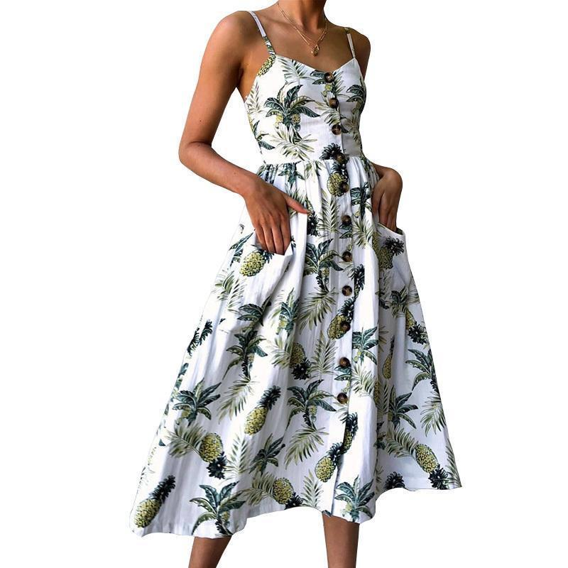f799c88c7ae19 Summer 2019 Strap Print Floral Dot Long Boho Bohemian Beach Dress Women  Sundress Sexy Casual Loose Elegant Vintage Ladies Dress