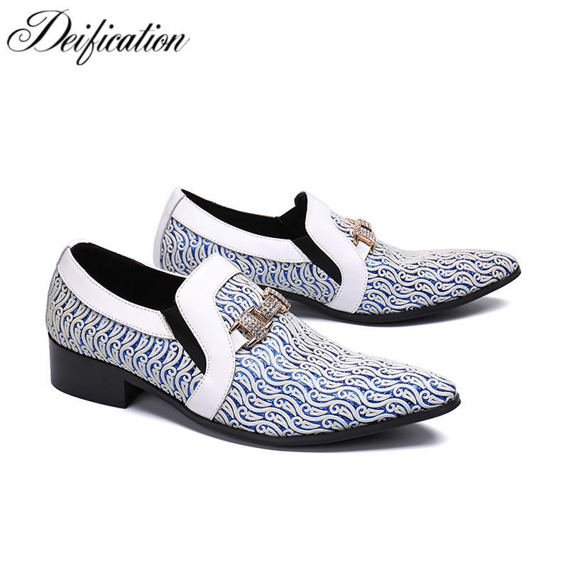c314fa887ed Compre Lujo Elegante Color Impreso Para Hombre Zapatos De Vestir Slip De  Cuero En Los Negocios Formal Zapatos Elegante Cristal Tachonado Banquete De  Boda A ...