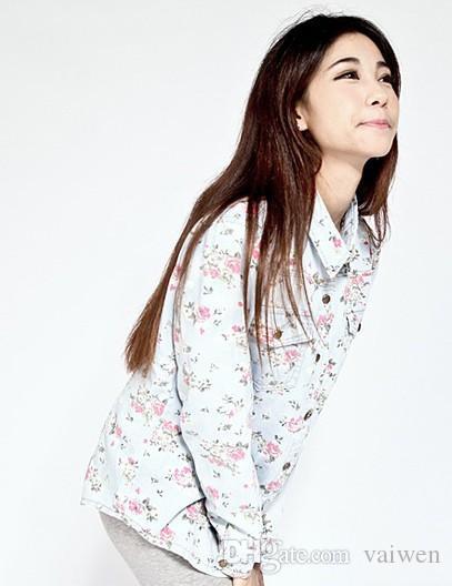 Compre Atacado 2015 Outono Camisa Jeans Feminina Jeans Vintage Estampa  Floral Blusa Mulheres Marvel Barato Manga Comprida Jeans Gradiente Camisa  Blusa De ... 4b92e4ad51cb8