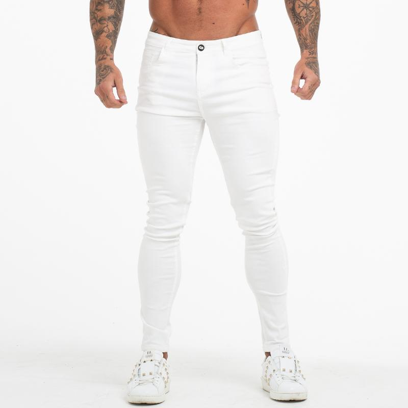 GINGTTO Jeans White Men Cotton High Waist Hose Stretch Jeans plus Größe Sommer-Männer Taille elastische Hosen plus Größe 36 zm55