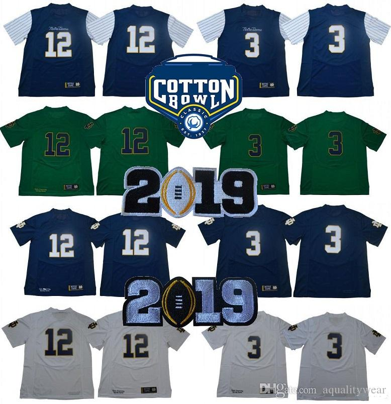 huge discount 18d7d 63e51 Norte Dame Fighting Irish Football Jerseys Cotton Bowl Playoff Patch  College 3# Joe Montana 12 Ian Book Jersey stsitched letters numbers