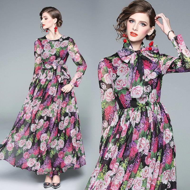 Fashion New Floral Printed Bow Womens Dress Long Sleeve Maxi Dress ... 93f7230ebc96
