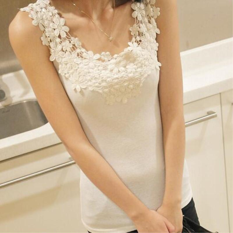 ab42bb246242b8 2019 Spring Summer Lace Tank Tops Women Sleeveless Round Neck Loose T Shirt Ladies  White Off Multicolor Solid Slim Vest C190416 From Shen07, $8.53 | DHgate.