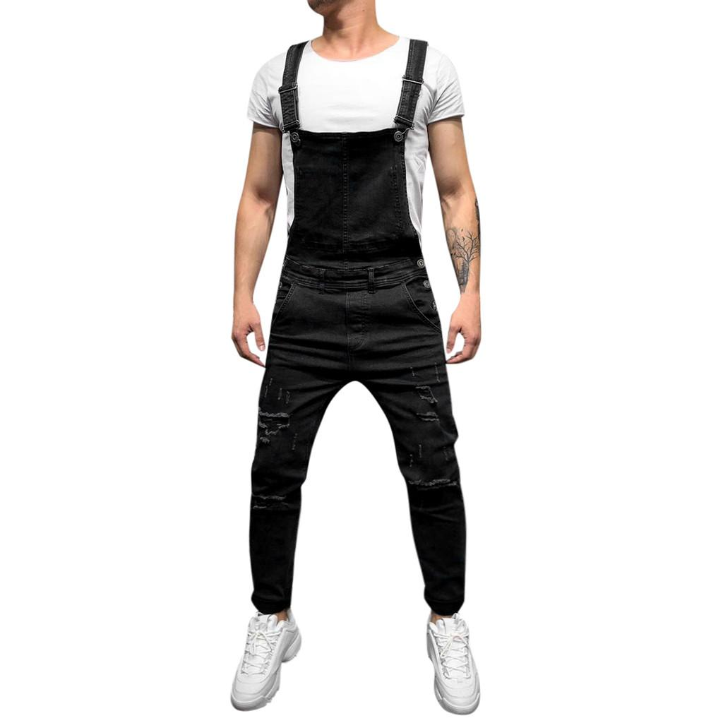 Joggers Pants Men Black Solid Harem Pants Men Streetwear Hole Pocket Trousers Straight Full Length Sweatpants Jumpsuit
