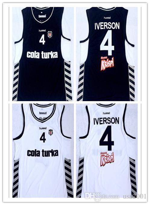 pretty nice 34289 d8288 custom made Turkey Turkish Besiktas Cola Turka #4 Allen Iverson man women  youth basketball jerseys size S-5XL any name number