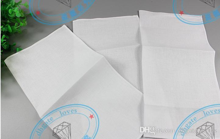 100% Cotton Male Table Satin Handkerchief Pure White Hankerchiefs Cotton Towel Mens Suit Pocket Square Handkerchief whitest