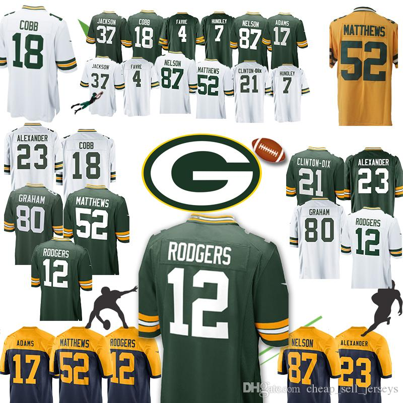 cfedf1396b5 2019 Green Bays Jersey Packers 12 Aaron Rodgers 52 Clay Matthews New 80  Jimmy Graham 23 Jaire Alexander 37 Jackson 4 Brett Favre 17 Davante Adams  From ...