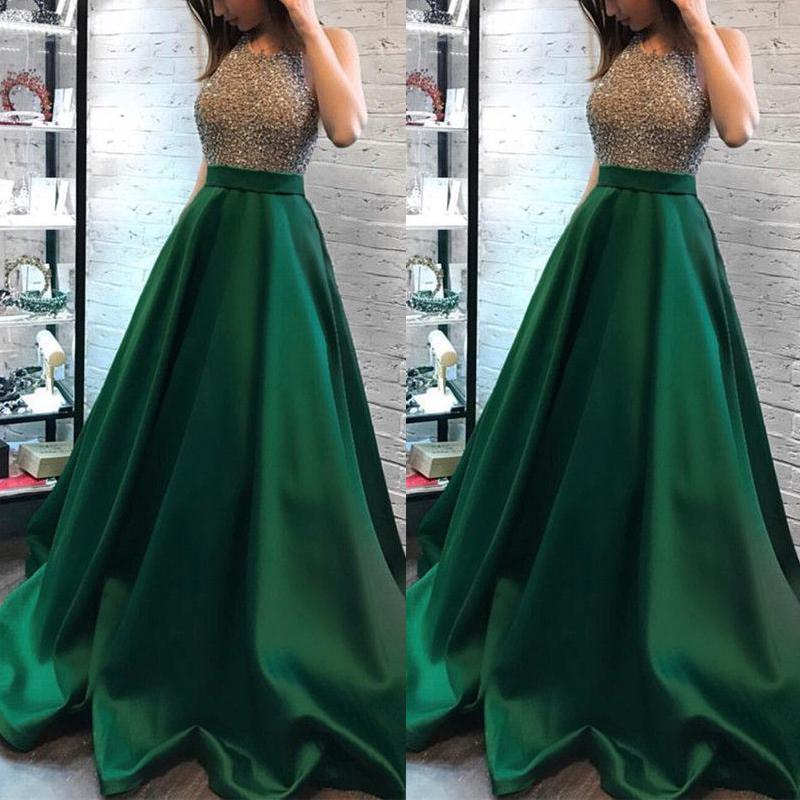 b0710b73cd1 Emerald Green Prom Dresses 2019 New Arrival A Line Halter Beads Top Long  Evening Gowns Formal Wears CP0074 Peach Prom Dresses Pink Prom Dress From  ...