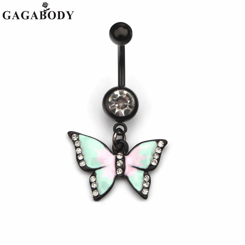 Trendy Anelli dell'ombelico dell'ombelico della farfalla bianca / rosa Anelli di modo penetranti del corpo Anelli dell'ombelico dell'acciaio chirurgico 316L