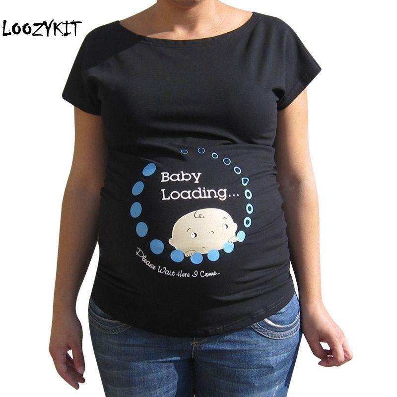 0e831a153 Compre Loozykit 2019 Verano Embarazo Camiseta De Dibujos Animados Bebé  Estampado De Algodón Mujeres Maternidad Embarazada Camiseta De Manga Corta  Camiseta ...