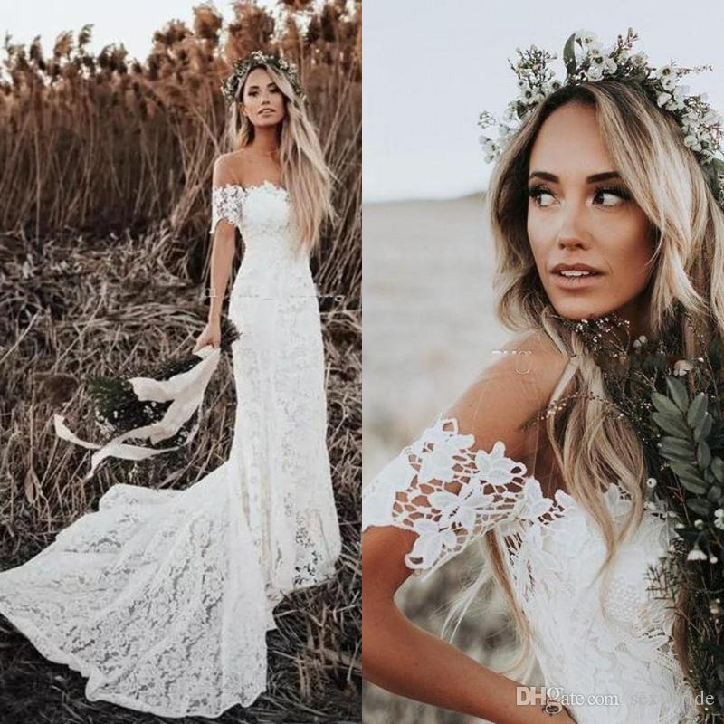 Simple Full Lace Mermaid Wedding Dresses Sexy Off Shoulder Bohemian Beach Boho Bridal Gowns Court Train Country Wedding Dress Plus Size 2019