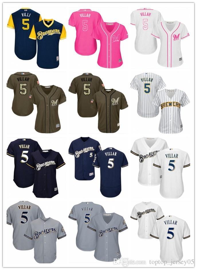 save off a7c71 f934d 2018 top Milwaukee Brewers Jerseys #5 Jonathan Villa Jerseys  men#WOMEN#YOUTH#Men s Baseball Jersey Majestic Stitched Professional  sportswear