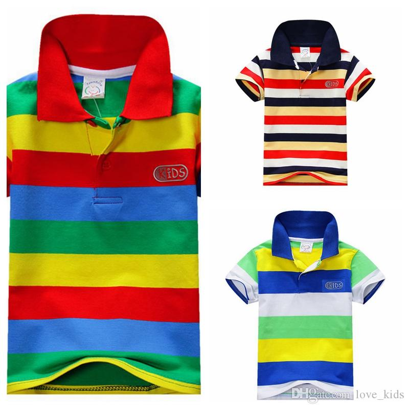 3d48d8116 Boys Summer T Shirt Short Sleeve Turn Down Collar Stripe T Shirt Wholesale  Sale Kids Cotton Tops Girls T Shirts Custom Shirts For Toddlers From  Love_kids, ...