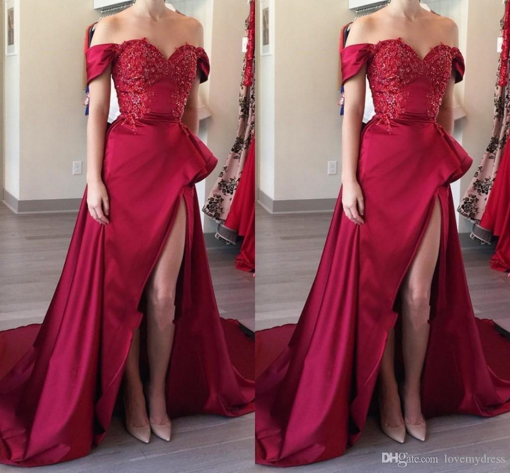 174c859d7 Falda asimétrica fuera del hombro Borgoña Vestido de fiesta apliques con  cuentas Lentejuelas Vestidos de noche bajos Vestidos formales Abendkleider  ...