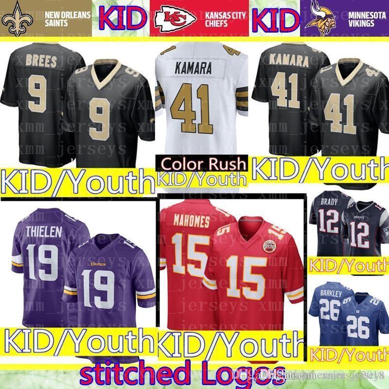 save off 8cb80 b229b KID 19 Adam Thielen Minnesota Vikings Jersey Youth 15 Patrick Mahomes  Kansas City Kid Chiefs 41 Alvin Kamara 9 Brees Orleans Saints
