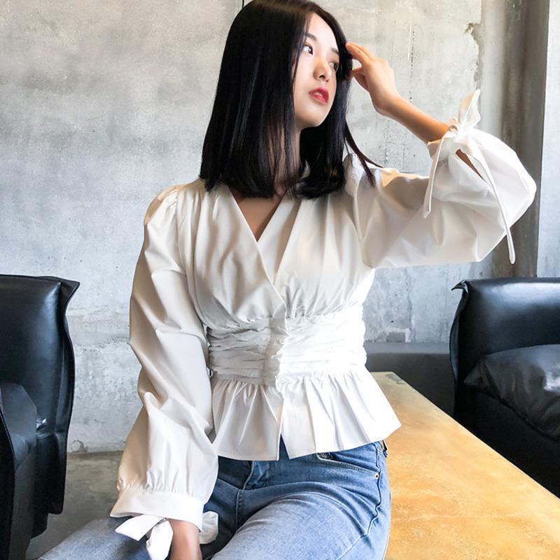 5c86d4404a Acheter LANMREM 2019 Nouvelle Mode Printemps V Col Puff Puff Manches  Longues Blanc Type Court Taille Slim Chemise Femme Chemise Douce Blouse Robe  YG33300 De ...