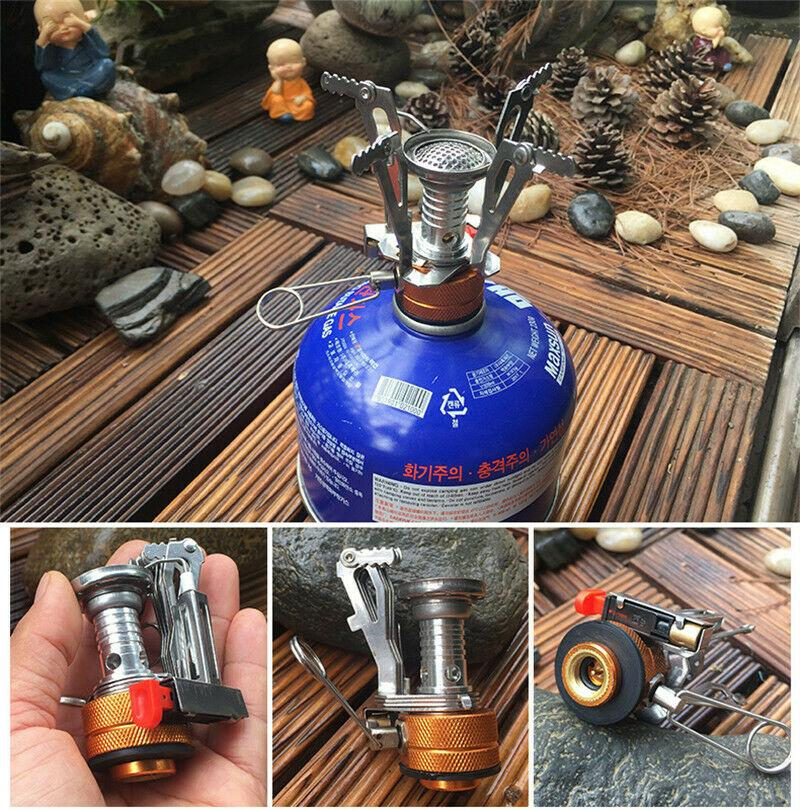 US Portable Outdoor Picnic Gas Burner Foldable Camping Mini Steel Stove Case