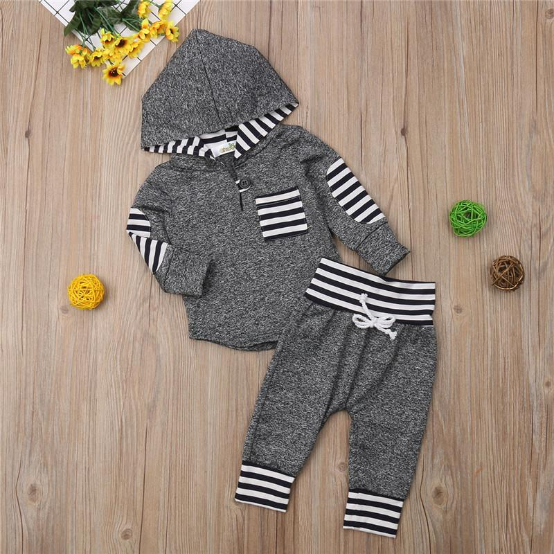ec39d7df0 2019 Baby Boys Girls Clothes Hooded Long Sleeve Pocket Striped ...
