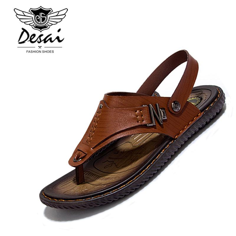 b9042bda5377a3 New Summer Breathable Men'S Sandals Handmade Hollow Split Leather Slippers  Fashion Casual Beach Shoes Men Outdoor Slippers High Heels Shoes Green Shoes  From ...
