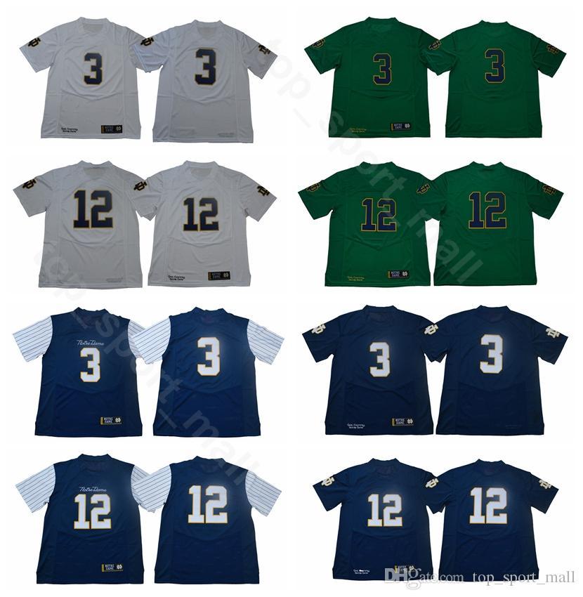 8fc2010d8 Men College 3 Joe Montana Jerseys Notre Dame Fighting Irish Football 12 Ian  Book Jersey Green White Blue University Breathable High Quality UK 2019  From ...