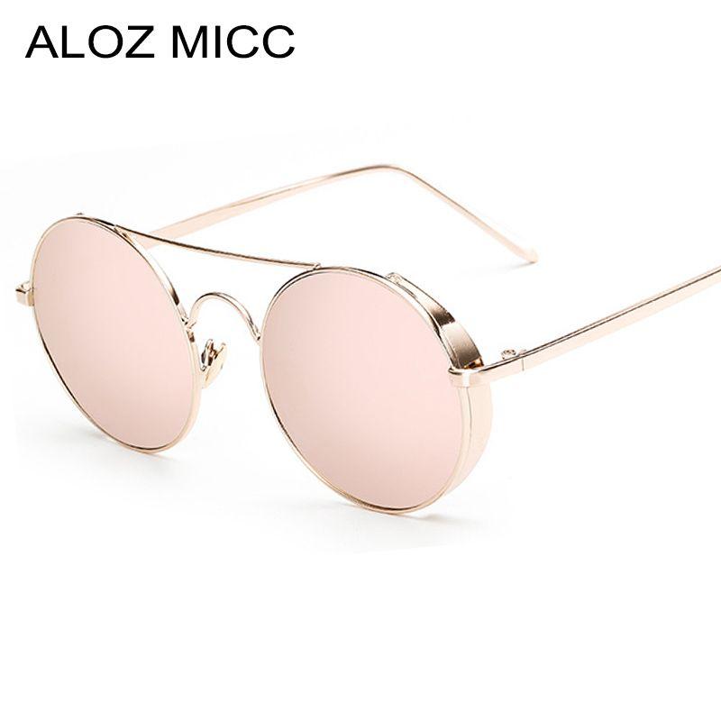 aaf5a662b83 ALOZ MICC Men Retro Round Sunglasses 2019 Steampunk Sunglasses Women Metal  Pink Blue Gold Mirror Glasses UV400 A262 Native Sunglasses Wholesale  Sunglasses ...