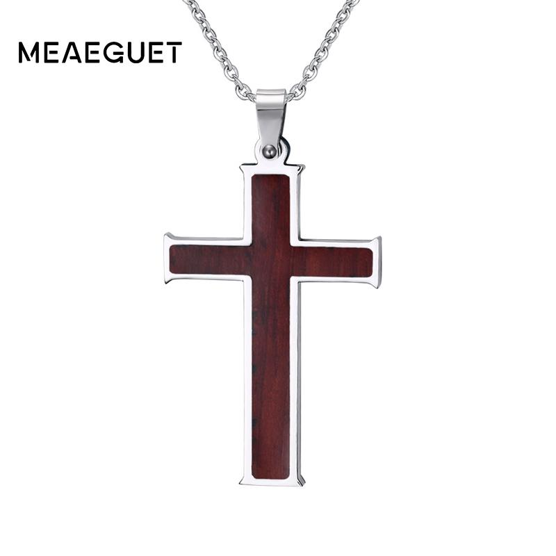 ashion Jewelry Necklace Meaeguet Wood Inlay Christian Cross Pendant Stainless Steel Chain Necklace Men Boutique Crucifix Religious Neckla...
