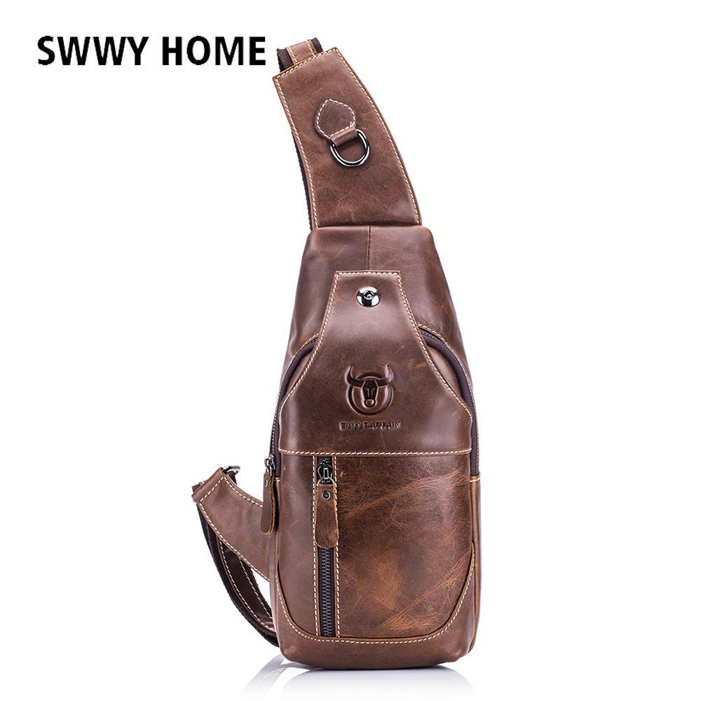 a0f362b36105 Men Cowhide Genuine Leather Crossbody Bags Messenger Chest Bag Pack Vintage Bag  Male Music Headphone Plug Shoulder Strap Pack Summer Handbags Satchel Bags  ...
