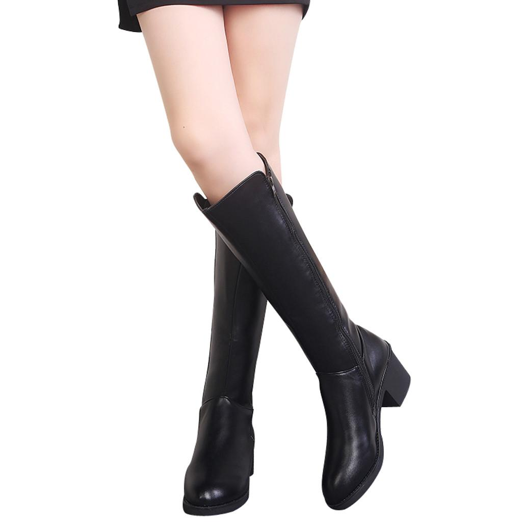 696df6555 Woman Shoes Autumn Winter 2019 Leather Zipper Square Heel High Boots Over  The Knee Shoes Round Toe High Boots Chaussure #7 Cheap Shoes For Women  Snowboard ...