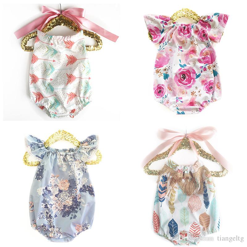 c4561951d782 2019 Baby Girls Rompers Backless Cake Bandage Bow Elastic Mermaid Arrow  Tent Cactus Printed Jumpsuit Infant Toddler Clothing Summer Beach Outfits  From ...