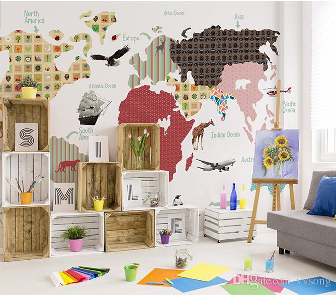 Newest 3d Cartoon Abstract World Map Photo Wall Mural For Kids Room ...