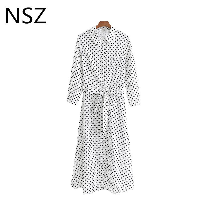 50234ca2435f9 Nsz Women Black And White Polka Dot Cotton Linen Long Shirt Dress Midi  Dress Turn Down Collar Belt Office Work Ladies Dress J190507