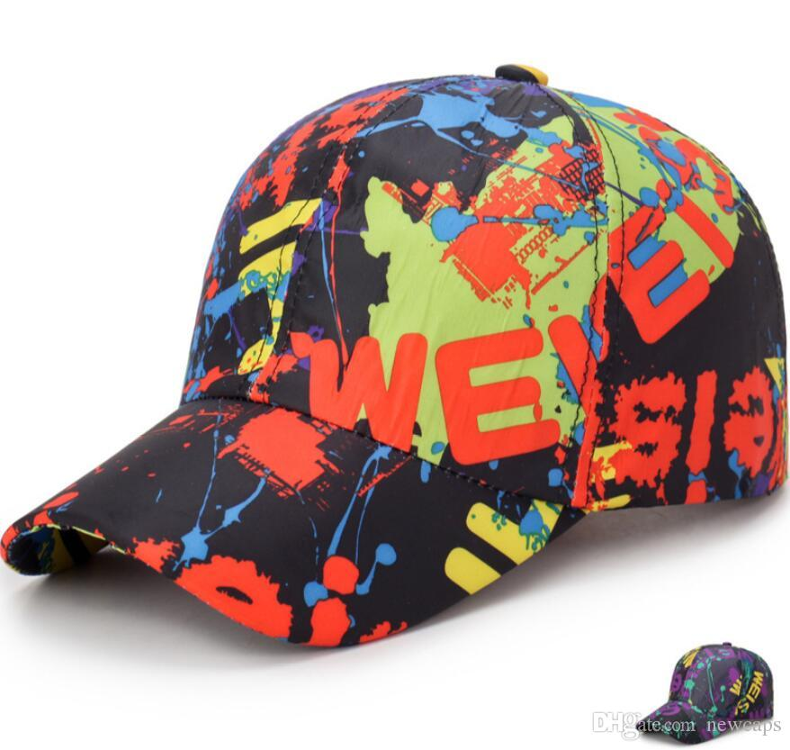 a98a39950f286 Graffiti Mixing Color Fashion Hip Hop Stree Dance Fit Caps ...