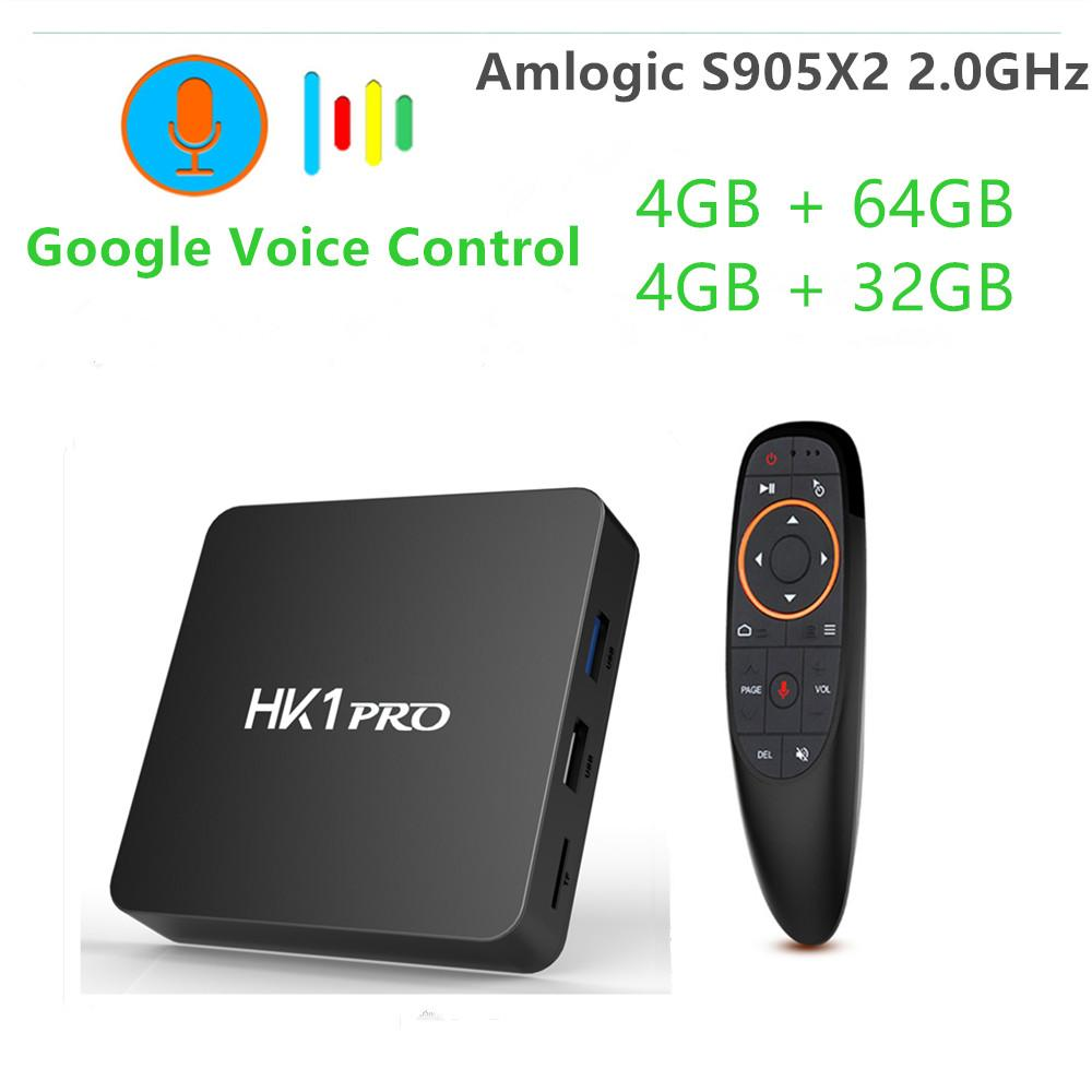 tv box android 8.1 4gb 64 gb ddr4  Android 8.1 Amlogic S905X2 Smart TV BOX DDR4 4GB 64GB Google Voice ...