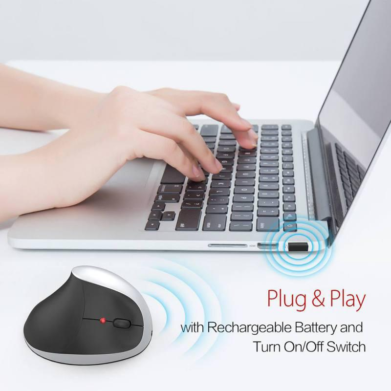Vertical Charging 2.4G Wireless Mouse with USB Receiver and Cable Optical Laser Technology Built-in 1200mah Rechargeable Battery