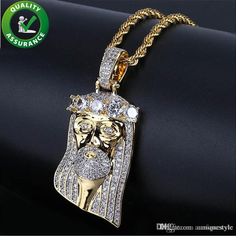 Hip Hop Jewelry Mens Iced Out Pendant Luxury Designer Necklace Diamond Crown Jesus Pharaoh Gold Chain Pendant Micro Pave CZ Fashion Charms