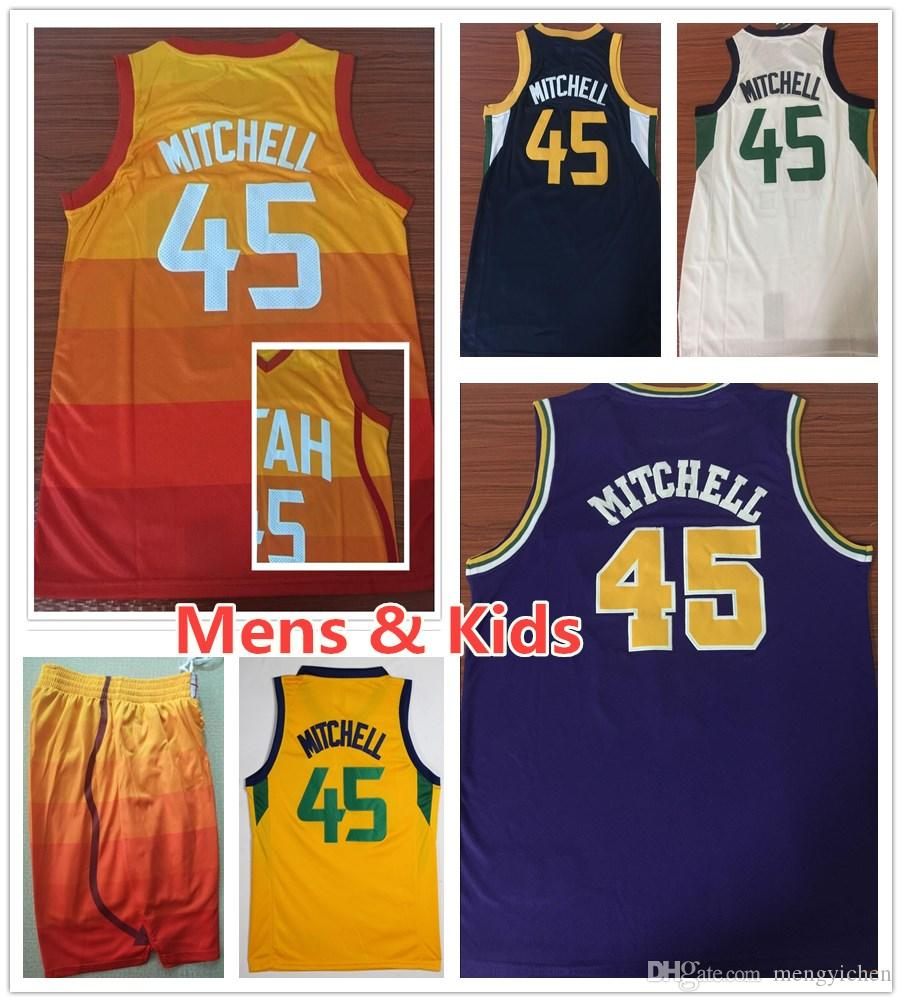 2019 Kids Youth Mens 45 Donovan Mitchell Sportswear Jerseys The City  Edition Orange Blue White Yellow Donovan Mitchell Jersey Stitched Shirt  Boys From ... 78fb1e0ba
