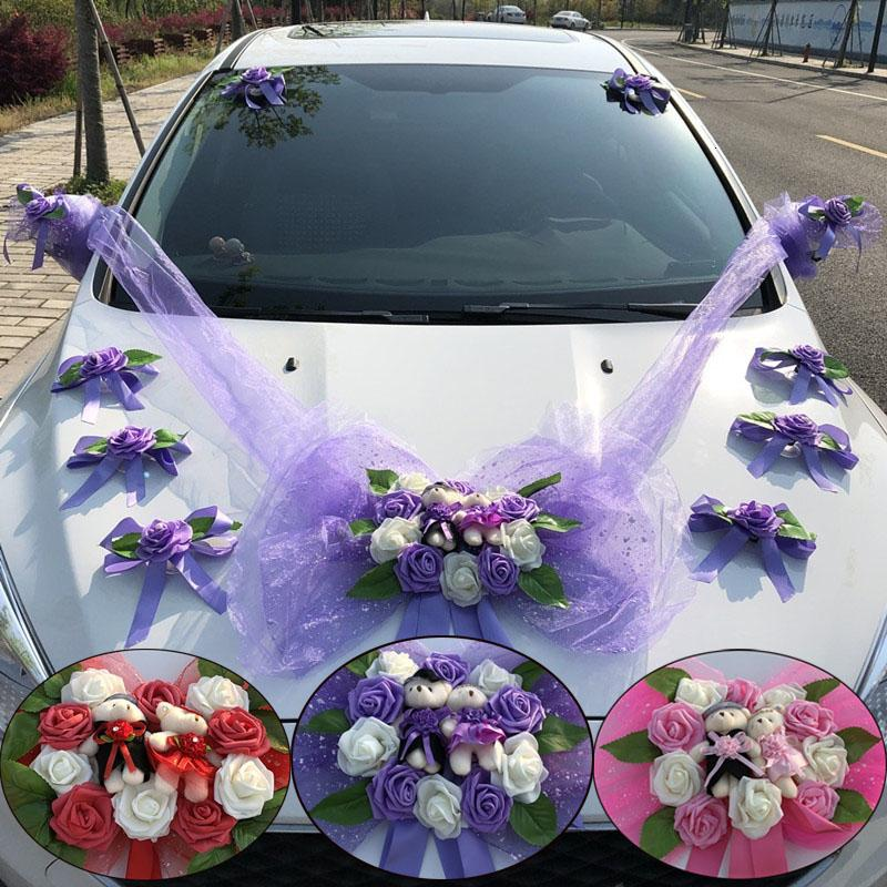 Artificial Flower Cars Wedding Decoration Kit Romantic Fake Rose Flowers Valentine's Day Party Festival Decorative Supply SH190920