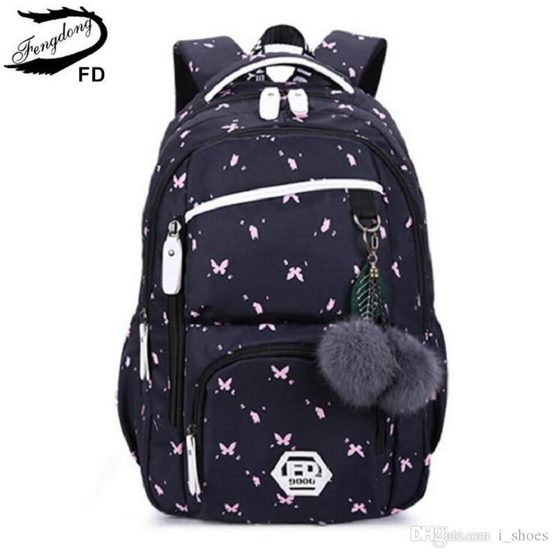abd64fbed1 FengDong Cute School Bags For Teenage Girls Korean Style School Backpack  For Girls Fur Ball Decoration Children Bag Girl Gift  30955 School Bags For  Teens ...