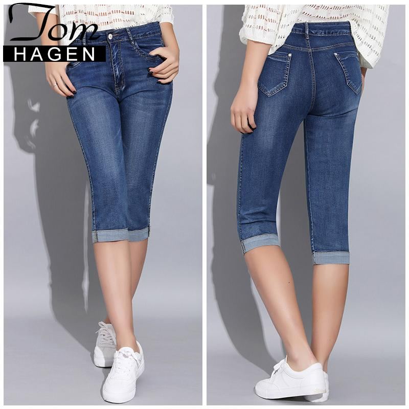 Tom Hagen 2019 Summer Skinny Jeans Woman Pants With High Waist Jeans Women Plus Size Women's Denim Female Stretch Knee Length LY191116