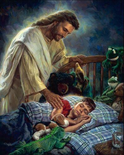 Nathan Greene - NIGHT WATCH Jesus standing by boy's bedside Home Decor HD Print Oil Painting On Canvas Wall Art Canvas Pictures 200109