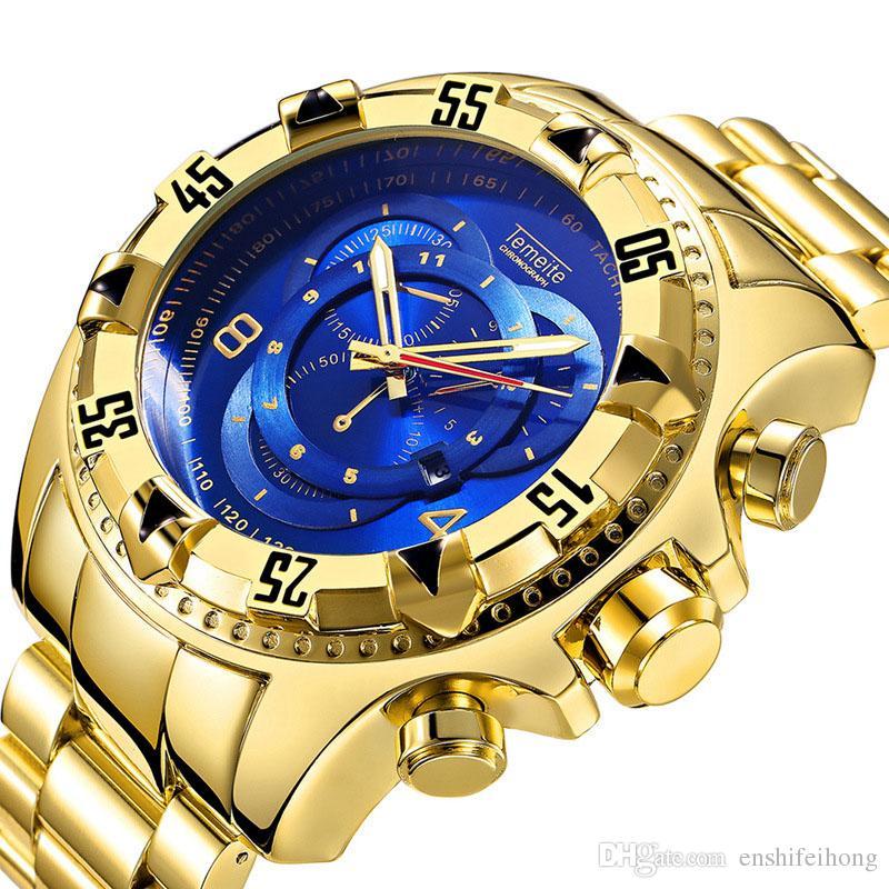 ef30c6d3515 Compre 2019New Relógios De Moda Para Homem De Marca De Luxo Relógio De  Pulso De Diamante Assistir Movimento De Aço Noctilucentes À Prova D  água  De Quartzo ...