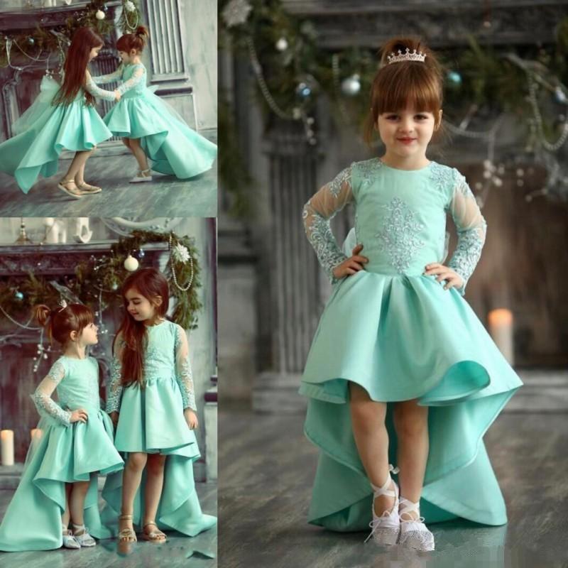 6bc0d51784576 Light Green Lace Applique Kids TUTU Flower Girl Dresses First Communion  Party Hi-Lo Princess Gown Bridesmaid Wedding Formal Dress 02