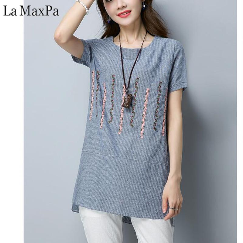 b1eb180f1b4a Verano de algodón de lino blusa de las mujeres Tops 2018 camisa a rayas  bordado de la vendimia de manga corta para mujer Blusas Camisetas Mujer
