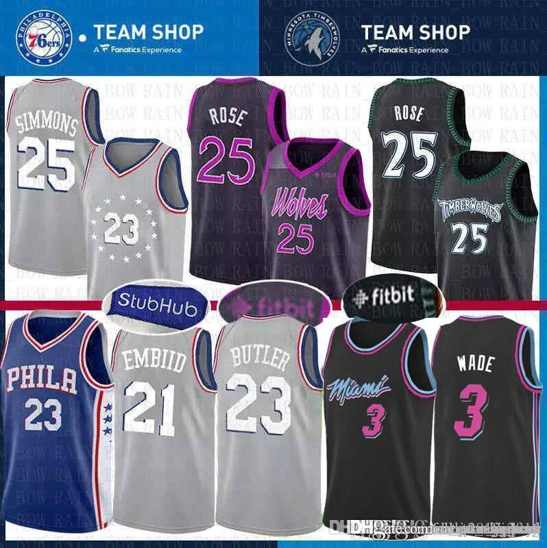 767696cfcfd 2019 City Jimmy 23 Butler Philadelphia Jersey 76ers Joel 20 Embiid Derrick  Ben 25 Simmons Rose Minnesota Miami Dwyane 3 Wade Heat Timberwolves From ...