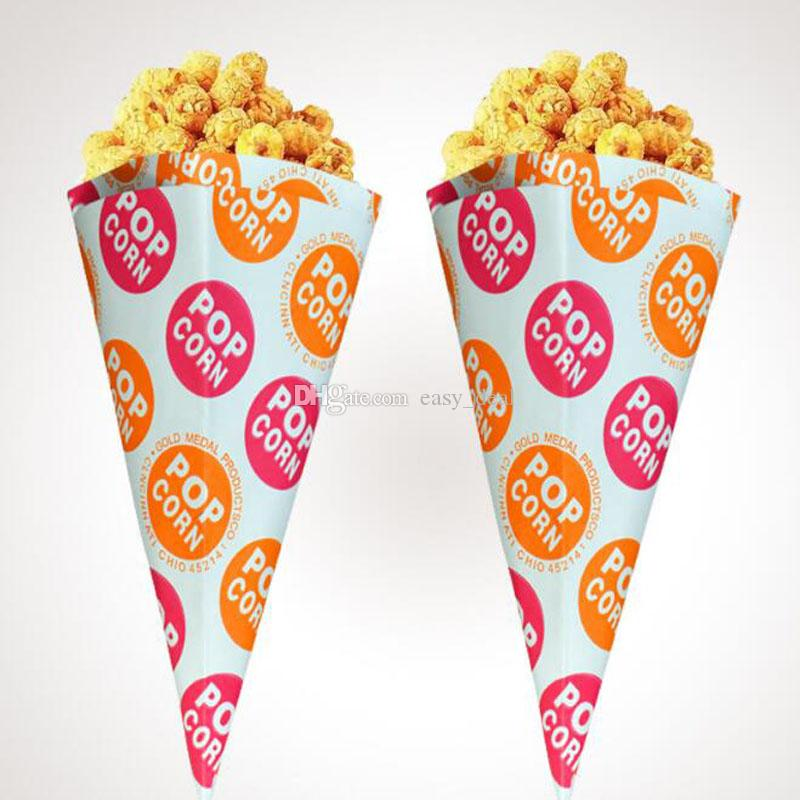 Popcorn Bags Cone Shaped Paper Candy Bag Christmas Birthday Party Supplies Snack Bags Gift Packing Bags ZC0125