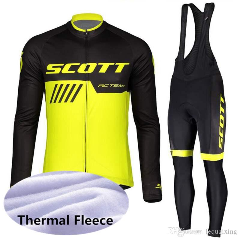 SCOTT team Cycling Winter Thermal Fleece jersey bib pants sets high quality outdoor Breathable 3D gel pad Ropa Ciclismo men U60408