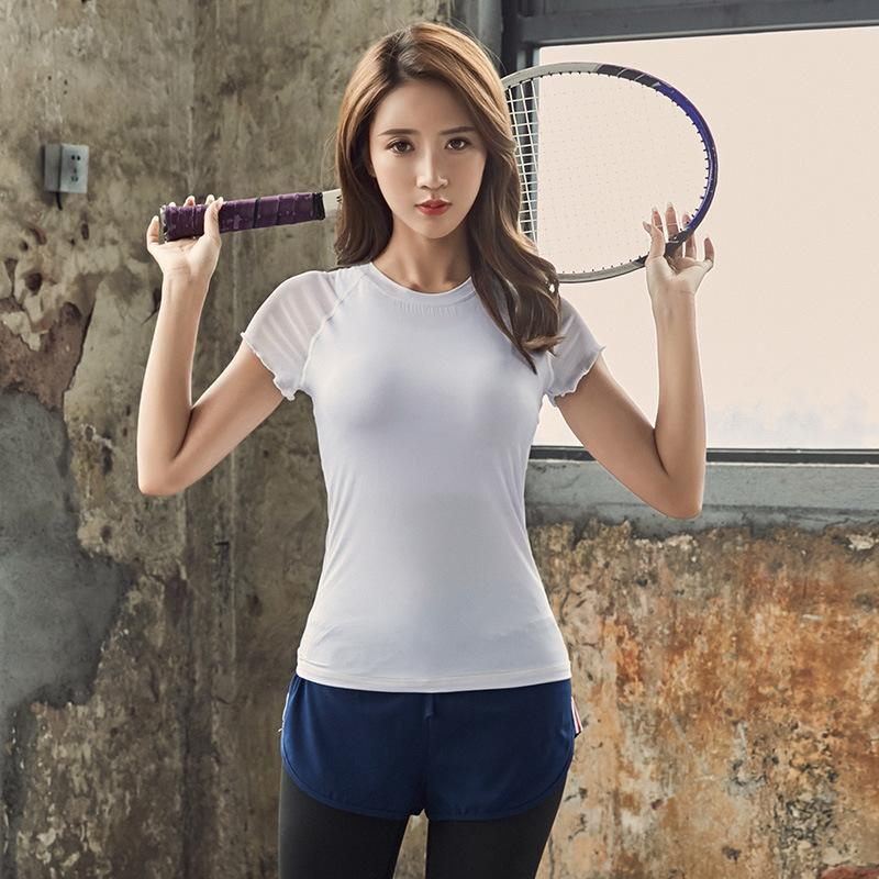 560e1d513cff9e 2019 Women PRO Tight Fitting Training Short Sleeve Sports Fitness Yoga T  Shirt Women S Sweat Fast Clothes From Jaokui