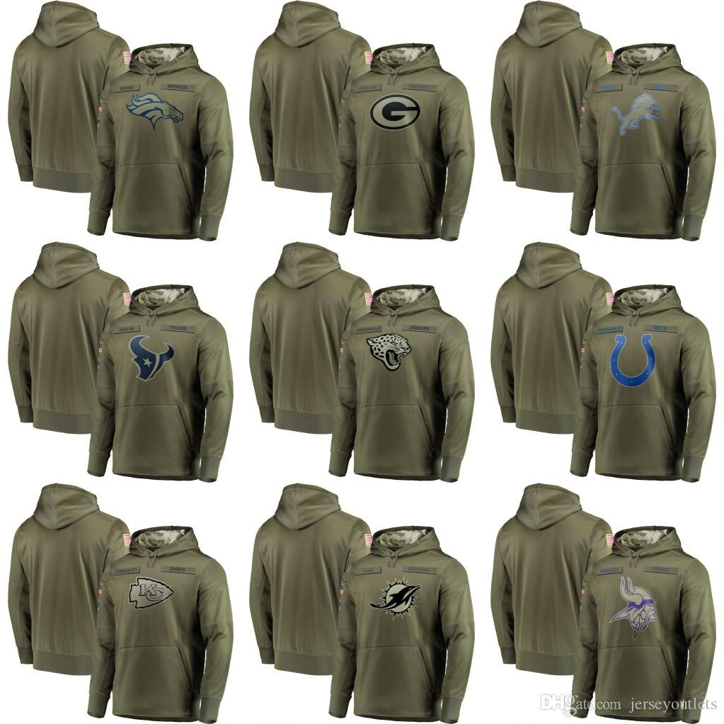 2018 Men S Minnesota Vikings Miami Dolphins Kansas City Chiefs Jaguars Olive  Salute To Service Sideline Therma Performance Pullover Hoodie 01 From ... ac3444da6