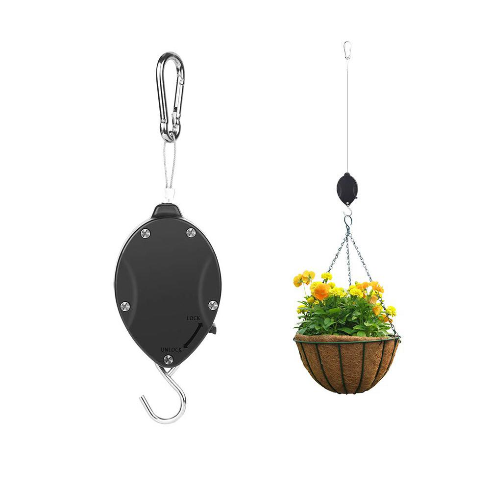 Retractable Hanger Hooks Plant Pulley Heavy Duty Easy Reach Pulley Plant  Hanging Flower Hook Hanger with Automatic Locking Mechanism
