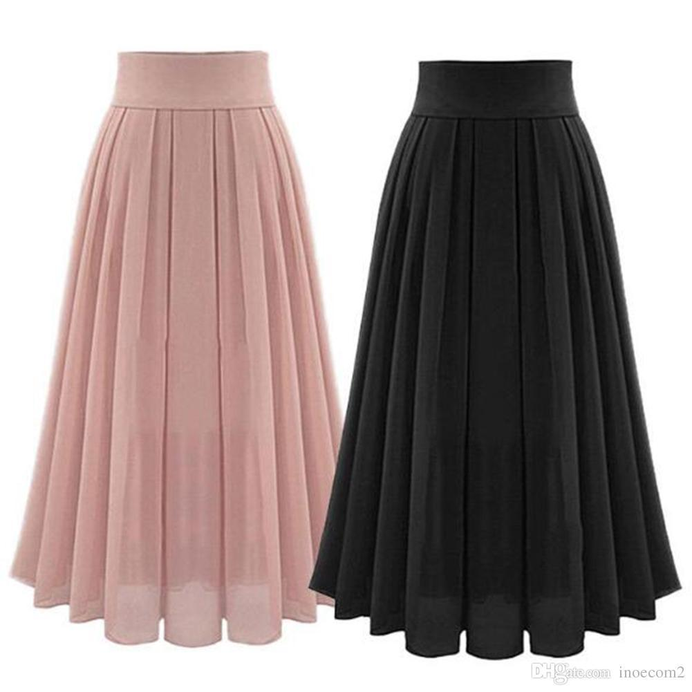 bb2fe4de55 2019 Fashion Summer Bohemia Chiffon Long Maxi Skirt High Waist Pleated Boho  Beach Skirts Women Clothings Black Pink Color SizeS 2XL From Pinksee2, ...